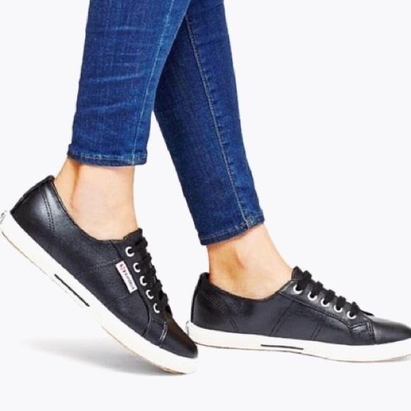 Superga black vegan leather sneakers